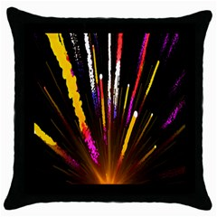 Seamless Colorful Light Fireworks Sky Black Ultra Throw Pillow Case (black) by AnjaniArt