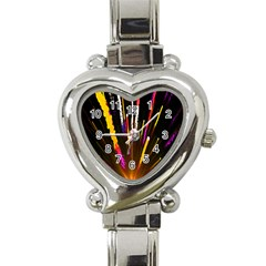 Seamless Colorful Light Fireworks Sky Black Ultra Heart Italian Charm Watch