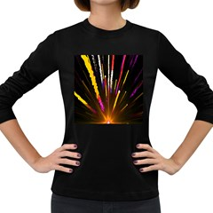 Seamless Colorful Light Fireworks Sky Black Ultra Women s Long Sleeve Dark T Shirts