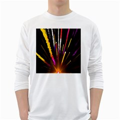 Seamless Colorful Light Fireworks Sky Black Ultra White Long Sleeve T Shirts