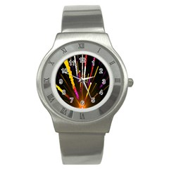 Seamless Colorful Light Fireworks Sky Black Ultra Stainless Steel Watch by AnjaniArt