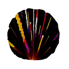Seamless Colorful Light Fireworks Sky Black Ultra Standard 15  Premium Round Cushions by AnjaniArt