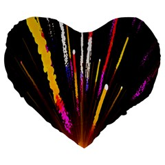 Seamless Colorful Light Fireworks Sky Black Ultra Large 19  Premium Heart Shape Cushions