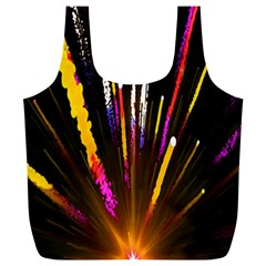 Seamless Colorful Light Fireworks Sky Black Ultra Full Print Recycle Bags (l)