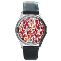 Rose Flower Red Orange Round Metal Watch by AnjaniArt