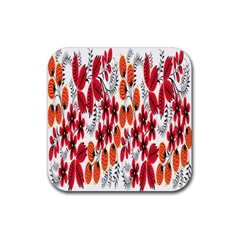 Rose Flower Red Orange Rubber Square Coaster (4 Pack)  by AnjaniArt