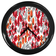 Rose Flower Red Orange Wall Clocks (black) by AnjaniArt