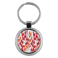 Rose Flower Red Orange Key Chains (round)  by AnjaniArt