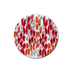 Rose Flower Red Orange Rubber Round Coaster (4 Pack)  by AnjaniArt