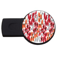 Rose Flower Red Orange Usb Flash Drive Round (4 Gb) by AnjaniArt