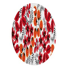 Rose Flower Red Orange Oval Ornament (two Sides) by AnjaniArt