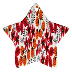 Rose Flower Red Orange Star Ornament (two Sides)