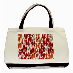 Rose Flower Red Orange Basic Tote Bag (two Sides) by AnjaniArt