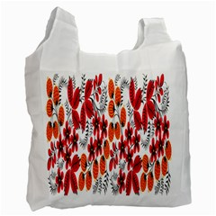 Rose Flower Red Orange Recycle Bag (one Side) by AnjaniArt