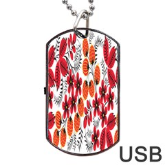 Rose Flower Red Orange Dog Tag Usb Flash (one Side)