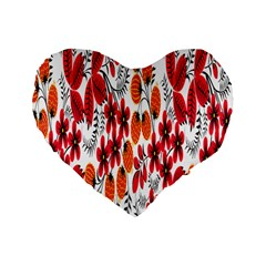 Rose Flower Red Orange Standard 16  Premium Heart Shape Cushions by AnjaniArt