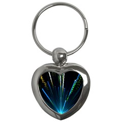 Seamless Colorful Blue Light Fireworks Sky Black Ultra Key Chains (heart)  by AnjaniArt