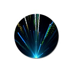 Seamless Colorful Blue Light Fireworks Sky Black Ultra Magnet 3  (round) by AnjaniArt