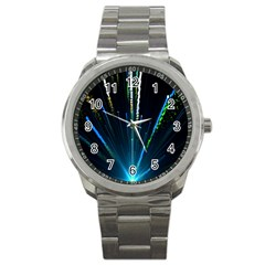 Seamless Colorful Blue Light Fireworks Sky Black Ultra Sport Metal Watch