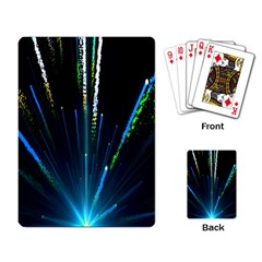 Seamless Colorful Blue Light Fireworks Sky Black Ultra Playing Card by AnjaniArt