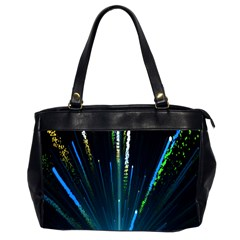 Seamless Colorful Blue Light Fireworks Sky Black Ultra Office Handbags (2 Sides)  by AnjaniArt