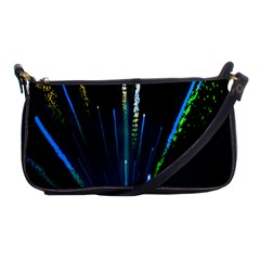 Seamless Colorful Blue Light Fireworks Sky Black Ultra Shoulder Clutch Bags by AnjaniArt