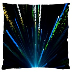 Seamless Colorful Blue Light Fireworks Sky Black Ultra Large Cushion Case (two Sides) by AnjaniArt