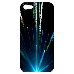 Seamless Colorful Blue Light Fireworks Sky Black Ultra Apple Iphone 5 Hardshell Case by AnjaniArt