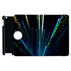 Seamless Colorful Blue Light Fireworks Sky Black Ultra Apple Ipad 3/4 Flip 360 Case by AnjaniArt