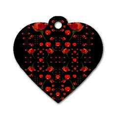 Pumkins And Roses From The Fantasy Garden Dog Tag Heart (one Side) by pepitasart