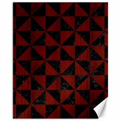 Triangle1 Black Marble & Reddish Brown Wood Canvas 16  X 20   by trendistuff
