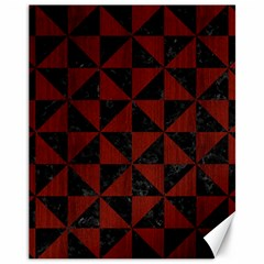 Triangle1 Black Marble & Reddish Brown Wood Canvas 11  X 14   by trendistuff