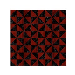 Triangle1 Black Marble & Reddish Brown Wood Small Satin Scarf (square) by trendistuff