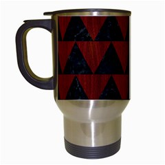Triangle2 Black Marble & Reddish Brown Wood Travel Mugs (white) by trendistuff