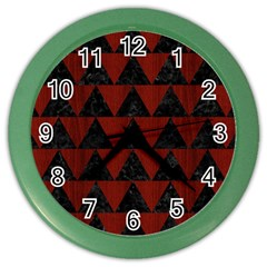 Triangle2 Black Marble & Reddish Brown Wood Color Wall Clocks by trendistuff