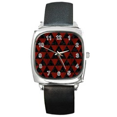 Triangle3 Black Marble & Reddish Brown Wood Square Metal Watch