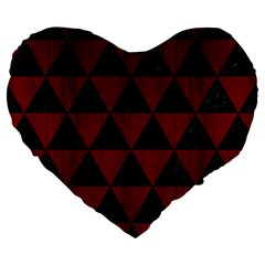 Triangle3 Black Marble & Reddish Brown Wood Large 19  Premium Heart Shape Cushions by trendistuff