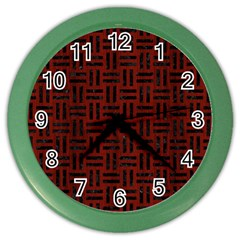 Woven1 Black Marble & Reddish Brown Wood Color Wall Clocks by trendistuff