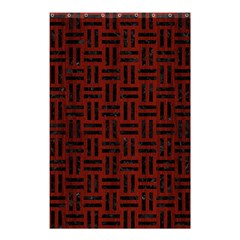 Woven1 Black Marble & Reddish Brown Wood Shower Curtain 48  X 72  (small)  by trendistuff
