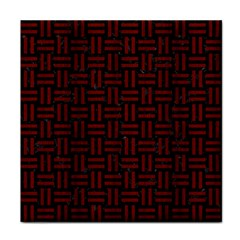 Woven1 Black Marble & Reddish Brown Wood (r) Tile Coasters by trendistuff
