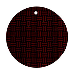 Woven1 Black Marble & Reddish Brown Wood (r) Round Ornament (two Sides) by trendistuff