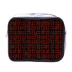 Woven1 Black Marble & Reddish Brown Wood (r) Mini Toiletries Bags by trendistuff