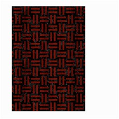 Woven1 Black Marble & Reddish Brown Wood (r) Large Garden Flag (two Sides) by trendistuff