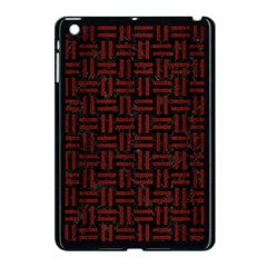 Woven1 Black Marble & Reddish Brown Wood (r) Apple Ipad Mini Case (black) by trendistuff