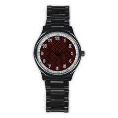Woven2 Black Marble & Reddish Brown Wood (r) Stainless Steel Round Watch by trendistuff