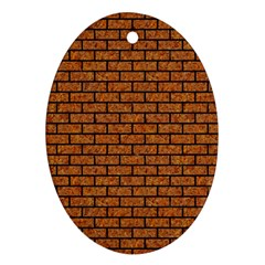 Brick1 Black Marble & Rusted Metal Ornament (oval)