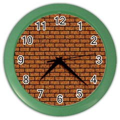Brick1 Black Marble & Rusted Metal Color Wall Clocks by trendistuff