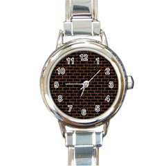 Brick1 Black Marble & Rusted Metal (r) Round Italian Charm Watch by trendistuff