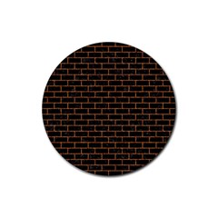 Brick1 Black Marble & Rusted Metal (r) Rubber Coaster (round)  by trendistuff