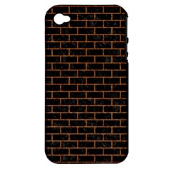 Brick1 Black Marble & Rusted Metal (r) Apple Iphone 4/4s Hardshell Case (pc+silicone) by trendistuff